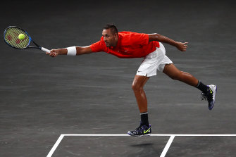 Nick Kyrgios in action during day two of September's Laver Cup.