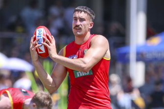 Ivan Soldo in action during Richmond's pre-season training session on the Gold Coast.