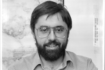 A photo of Norman Swan from the 1980s when he joined the ABC's Science Unit.