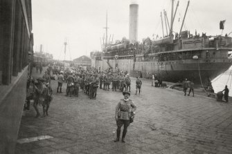 Walter Dexter on the wharf in Cairo. Photograph by Phillip Schuler of The Age.