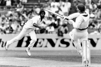 The man known as 'Whispering Death' sends one down to former Australian captain Kim Hughes in 1980.