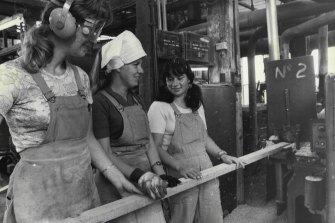 Women employed at a timber yard, pictured in 1977.