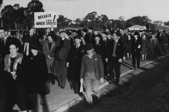 """'Carrying placards and singing """"Solidarity for Ever,"""" the """"Internationale,"""" and other songs, the demonstration continued for more than two hours'. July 12, 1941"""