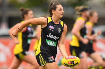 Monique Conti trains during RIchmond's AFLW pre-season at Punt Road Oval last year.