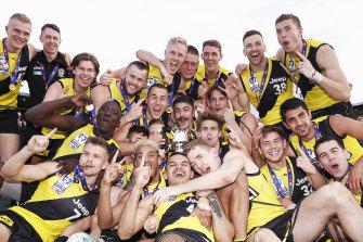Richmond celebrate their 2019 VFL premiership.