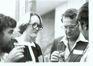 Michele Field with Frank Moorhouse at the University of Queensland.