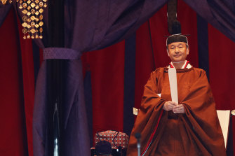 Emperor Naruhito attends a ceremony to proclaim his enthronement to the world, called Sokuirei-Seiden-no-gi, at the Imperial Palace in Tokyo.