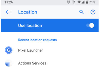 An example of the location setting on an Android phone. Toggling the option at the top will prevent the phone from being able to send location data entirely.