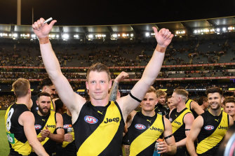 A team of Tigers: Dylan Grimes celebrates the preliminary final win.