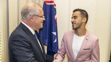 Prime Minister Scott Morrison and Hakeem Al-Araibi.