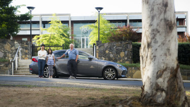 Maggie, Nina, 10, and Peter Pharaoh were fined $270 for parking in the middle of Melbourne Avenue with scores of other cars for the Canberra Girls Grammar Fete last month.