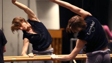 Bolshoi Ballet Principal dancer Denis Rodkin warms up in QPAC rehearsal room.