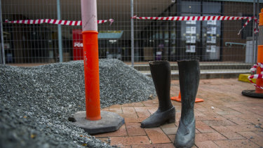 The sad end to the Lady in Pearls sculpture at the Hughes shops after the bulk of the sculpture was stolen in May, 2016.