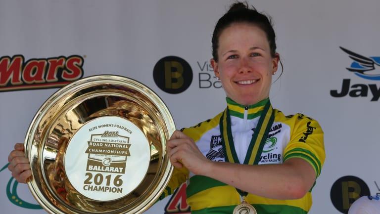Champ: Amanda Spratt with the Australian women's road title in 2016.