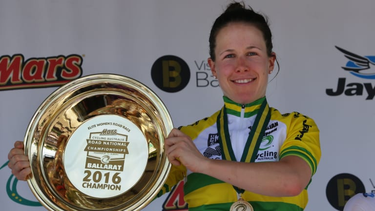 Champ: Amanda Spratt with the Australian women's road title in 2016.