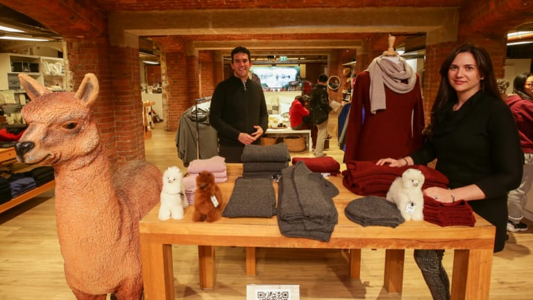 Boaz and Sharon Herszfeld, Creswick Woollen Mills owners at their new store in The Block in Melbourne.