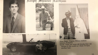 This image shows Virginia Governor Ralph Northam's page in his 1984 Eastern Virginia Medical School yearbook. It's unclear who the people in the picture are, but the rest of the page is filled with pictures of Northam and lists his undergraduate alma mater and other information about him.
