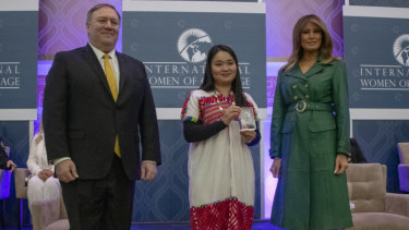 US Secretary of State Michael Pompeo and US first lady Melania Trump present Naw Knyaw Paw with the 2019 International Women of Courage Award in Washington in March.