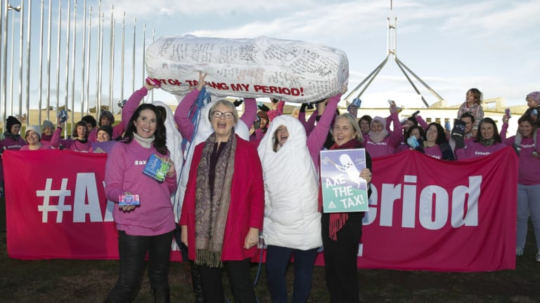 Greens senators Janet Rice and Lee Rhiannon join protestors against the tampon tax, on the front lawn of Parliament House on Monday.