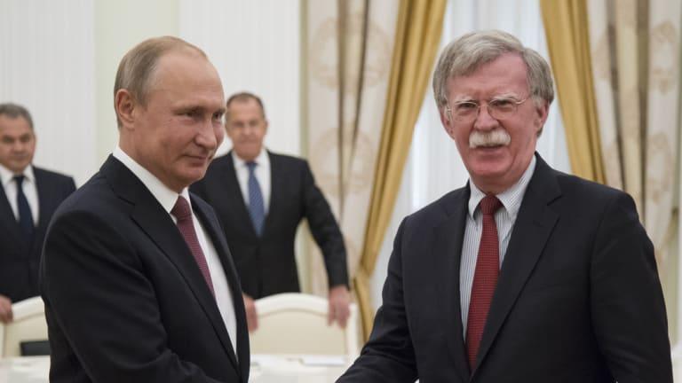 Vladimir Putin, meets John Bolton in Moscow on Wednesday.