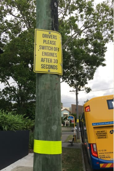 Signs at Brisbane terminuses instruct drivers to switch off their engines after 30 seconds.