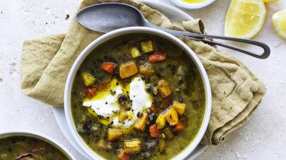 Karen Martini's roasted vegetable and lentil soup
