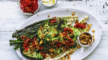 Karen Martini's charred broccoli and shallot salad with tahini dressing