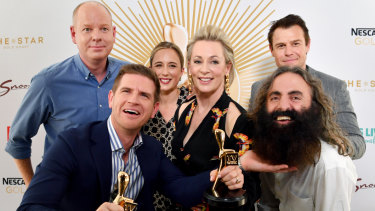 Gold Logie nominees (L-R) Tom Gleeson, Sam Mac, Eve Morey, Amanda Keller, Rodger Corser and Costa Georgiadis at the TV Week Logie Awards Nomination Party.