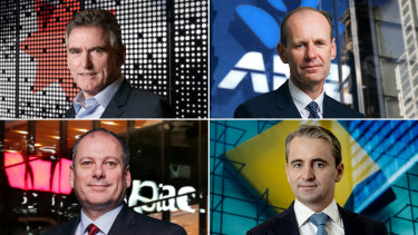 The big four chiefs (clokwise from top left): NAB's Ross McEwan,  ANZ's Shayne Elliott, CBA's Matt Comyn and Peter King from Westpac.