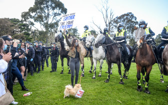 An anti-lockdown rally in Melbourne in September.