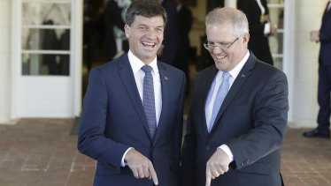 New Energy Minister Angus Taylor with Prime Minister Scott Morrison at Government House on Tuesday.