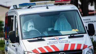 Vented masks were used at St. Basil's Homes for the Aged in Fawkner on Sunday.