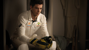 In a still from the documentary, Tim Paine collects his thoughts in the Headingley dressing room after the Test.