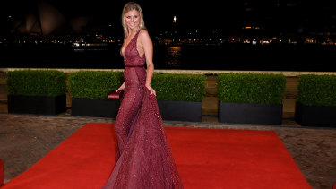 Glamour ... Tegan Martin arrives at the Dally M Awards.