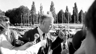 Sir Joh Bjelke-Petersen arrives at the National Economic Summit in Canberra on 12 April 1983.