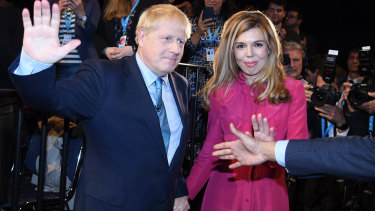 Britain's Prime Minister Boris Johnson and fiancee Carrie Symonds, who was seen vacationing in Italy.