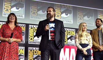 Director Cate Shortland (left) with David Harbour, Florence Pugh and O-T Fagbenle from Black Widow at the San Diego Comic-Con in 2019.