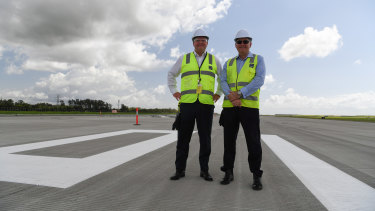 Brisbane Airports Corporation chief executive Gert-Jan de Graaff and parallel runway project director Paul Coughlan.