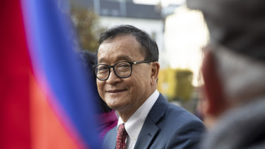 Cambodian opposition politician Sam Rainsy at the EU Parliament in Brussels earlier this month.