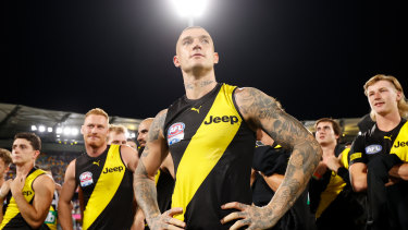 Dustin Martin and his Tiger teammates at The Gabba on Saturday night.