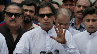 Imran Khan speaks after casting his vote in Islamabad.
