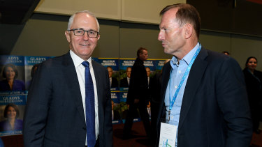 Mr Abbott with then prime minister Malcolm Turnbull in 2017.