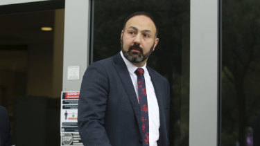 Treiza and Meriam Bebawy's solicitor Richard Chidiac leaves Bankstown Local Court on Monday.