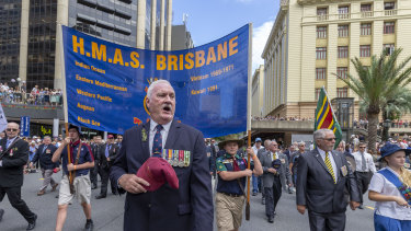 Soldiers from HMAS Brisbane march during the Anzac Day parade in Brisbane last year. The government is considering measures around Anzac Day to protect people from coronavirus.
