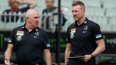 Collingwood GM of football Graham Wright and outgoing senior coach Nathan Buckley.