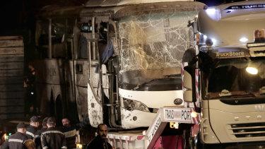 The tourist bus after a roadside bomb near the Giza pyramids.