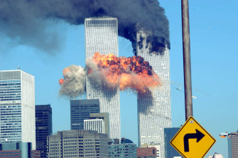 A fiery blast rocks the World Trade Centre after being hit by a plane on September 11, 2001.