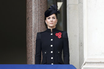 The Duchess of Cambridge wearing Catherine Walker and co. at the Service of Remembrance in 2020.