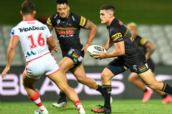 Nathan Cleary on the attack.