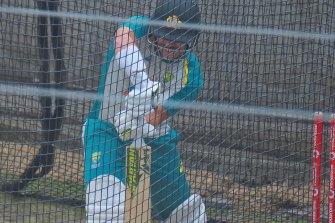 David Warner bats in the nets on Sunday.